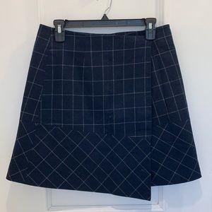 Whistles Blue Plaid Asymmetrical Skirt Size 8